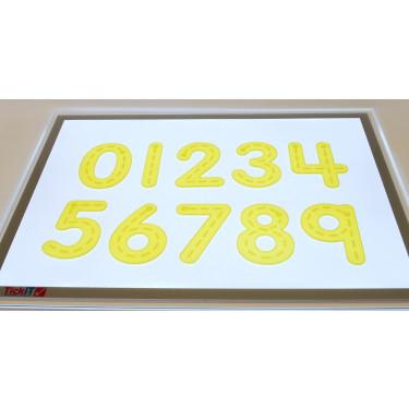 Siliconen cijfers met strepen geel