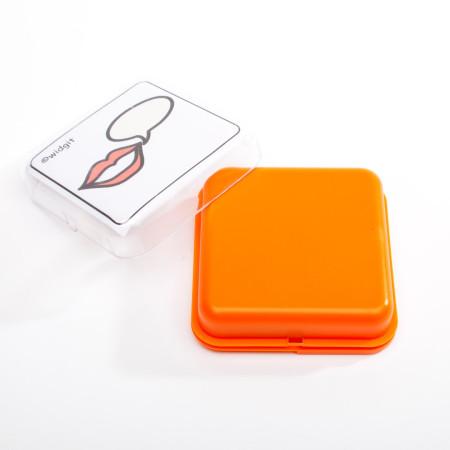 oranje vierkante praatknop